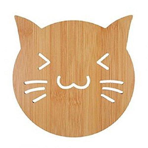 Dessous de plat / verre / bouteille en bois en forme de chat