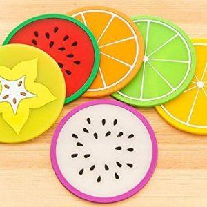 Lot de 6 ou de 12 dessous de Verre / Tasse Fruit silicone