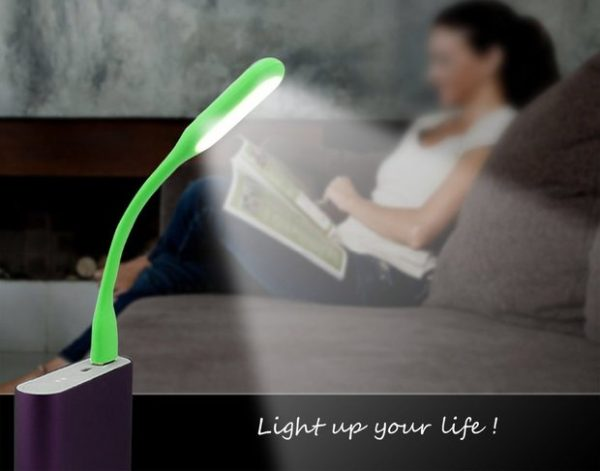 Mise en situation lampe LED USB flexible vert