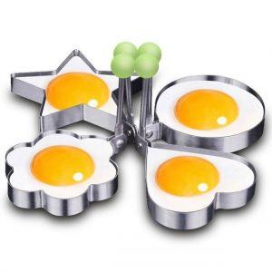 4 X Moule / Emporte pièce pour crêpe / Œuf / gâteau Forme Fleur + étoile + cœur + rond