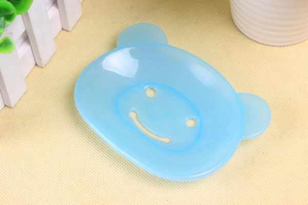 Photo du porte savon Nounours en plastique bleu