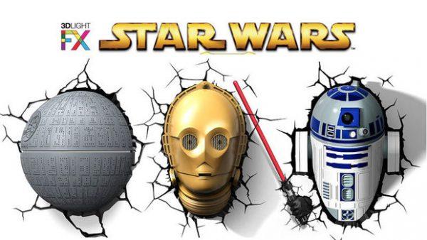Photo veilleuse murale Star Wars étoile de la mort C3PO et R2D2