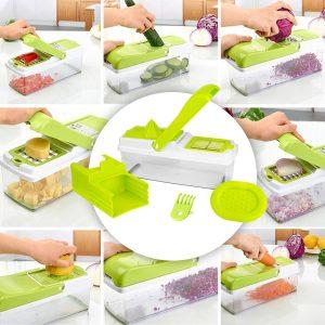 Mandoline 11 en 1 Multifonction Professionnelle – Coupe fruits, légumes, fromages 7 lames