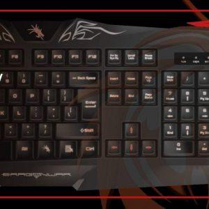 DragonWar – Silvio – Clavier de Jeu & Multimedia, filaire tressé (1,8 mètre)- Semi Automatique – Touches retro eclairées – Noir – USB 2.0 avec fonction N-Key Rollover – AZERTY