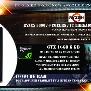 G-MOTIONS PC Gamer Python Ryzen 7 3700X 6 Coeurs (4.00 GHz / 4.99 GHz) / 16 GO RAM/ GTX 1660 Super / 480 GO SSD M.2/1 ToHDD / Win10 / USB 3.0 Ordinateur de Bureau