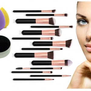 G-MOTIONS – Kit de maquillage professionnel/coffret set de maquillage avec 14 pinceaux 5 éponge pour teint et une éponge nettoyante pour pinceaux