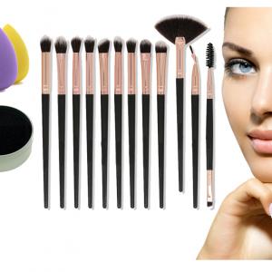 G-MOTIONS – Kit de maquillage professionnel/coffret set de maquillage avec 12 pinceaux 5 éponge pour teint et une éponge nettoyante pour pinceaux
