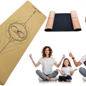 Tapis de Yoga en liège – Naturel et écologique – Taille : 183cmX65cmx7mm – Antidérapant, Hypoallergénique – Sangle de Transport