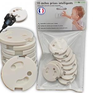 Lot de 10 caches prises intelligents sans clés pour prise française/Avec adhésif/Mécanisme tournant pour branchement des prises/impossible à utiliser pour les bébés/enfants