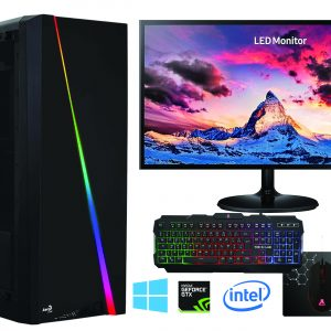 G-MOTIONS PC ACCESS Gamer Processeur Intel I3 4.2GHZ + 1TO HDD + 8 GO + 1 to HDD + GTX 1650 – Ordinateur de Jeu – W10 + ecran 22″ + Pack Clavier/Souris/Tapis/écouteur
