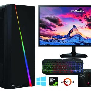 G-MOTIONS Assemblage PC en France, PC Gamer RYZEN 3600 4.2 GHZ 6-Core + GTX 1660 + 16 GO RAM + 1 to Disque Dur + 250 GO SSD – Ordinateur pour Le Jeu – Windows 10 + ecran 24″ + Clavier/Souris/Tapis/écouteur